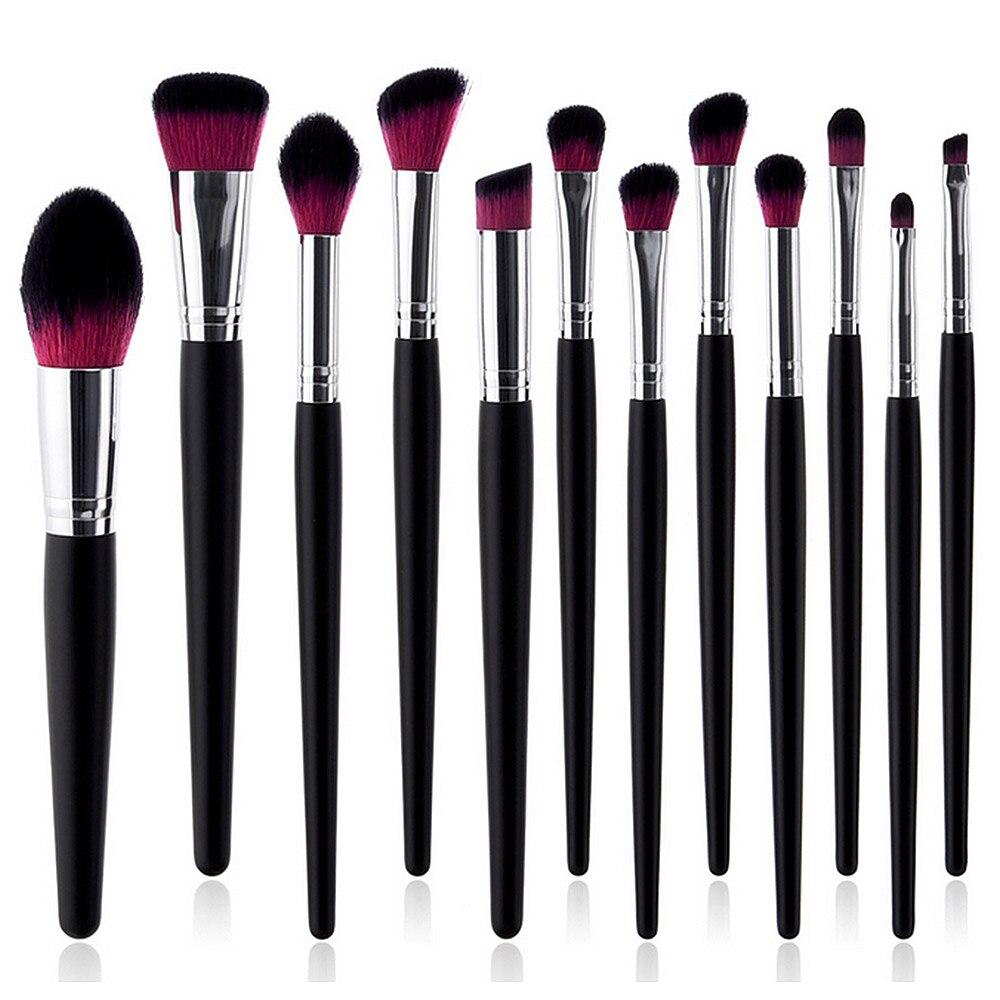 Juego de brochas de maquillaje profesionales de 12 piezas, brochas de maquillaje en polvo, sombra de ojos, brochas de maquillaje, herramienta cosmética