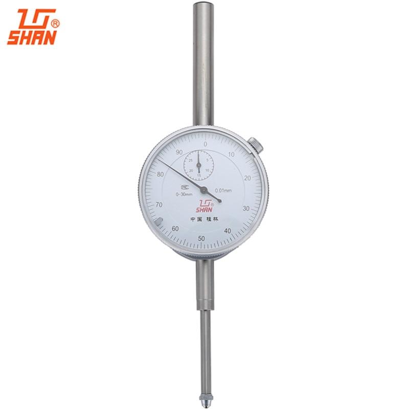 SHAN Dial Indicator 0-30mm/0.01mm Dial Test Gauge Large Measuring Range Aluminum Body Micrometer Precision Tools
