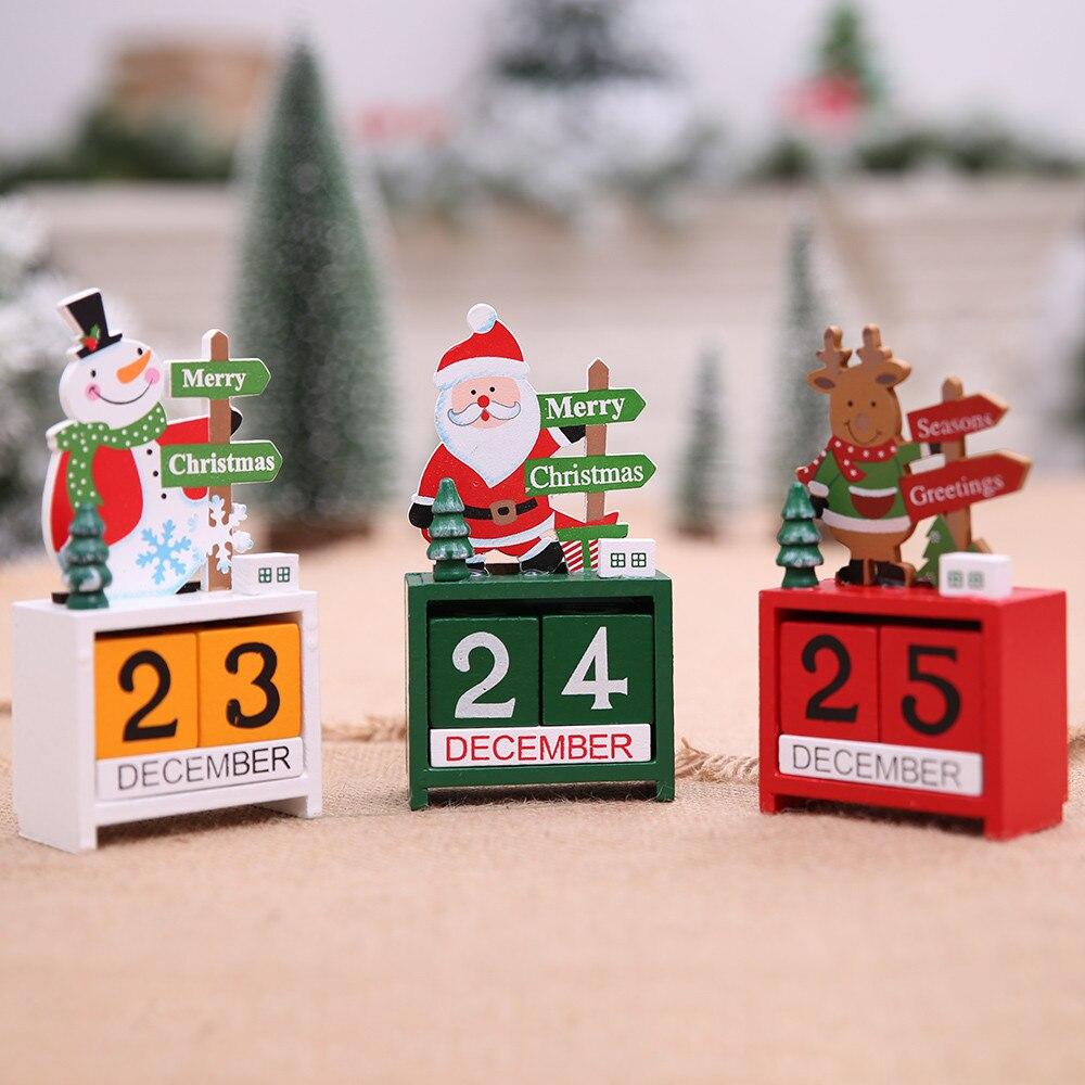 Ano novo 2019 feliz natal decorações para casa natal mini calendário de madeira natal ornamento decoração para casa artesanato presente kerst