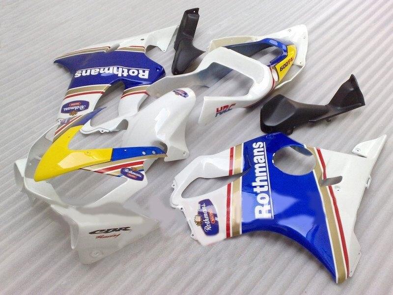 Vendas quentes kit carenagem para hd cbr 600 f4i 01 02 03 carenagens cbr600f4i 2001 2002 2003 branco azul amarelo