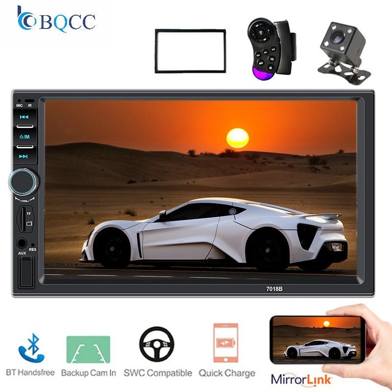 Din MP5 Car Radio 2 Bluetooth Handsfree Handsfree Car Rear View Mirrorlink Rear View Camera 7018B Mirrorlink