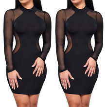 Mode femmes dame robes vêtements Bandage moulante Transparent à manches longues brève Sexy fête femmes Mini robe