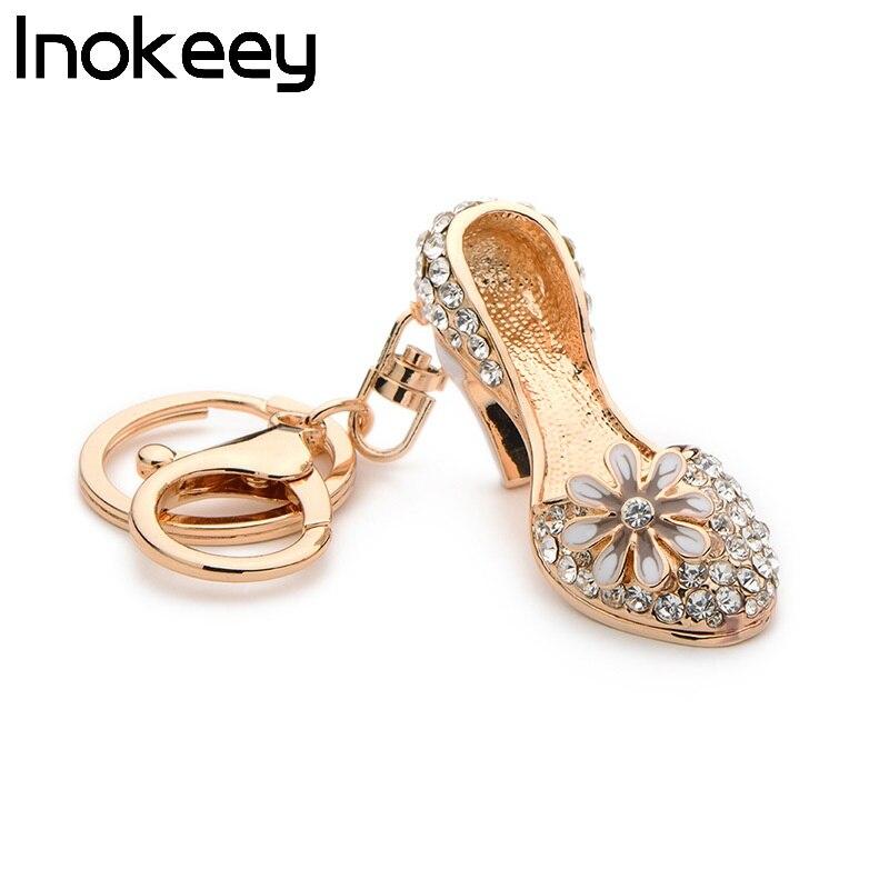 LLavero de zapatos Inokeey de aleación de diamantes de imitación blancos de tacón alto, a la moda cristal esmaltado, flor, zapato, bolso para mujer, llavero, accesorios