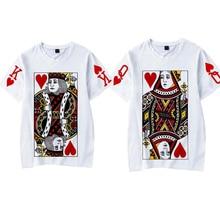 Mode graphique Tumblr Poker impression roi reine 3D T Shirt 2019 été femmes hommes à manches courtes décontracté Couple correspondant vêtements