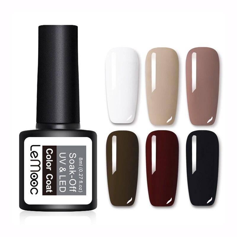 LEMOOC 8ml  Color Gel Nail Polish 25 Colors Soak Off UV Gel Varnish Nail Art  UV Gel varnish Black UV Gel Polish