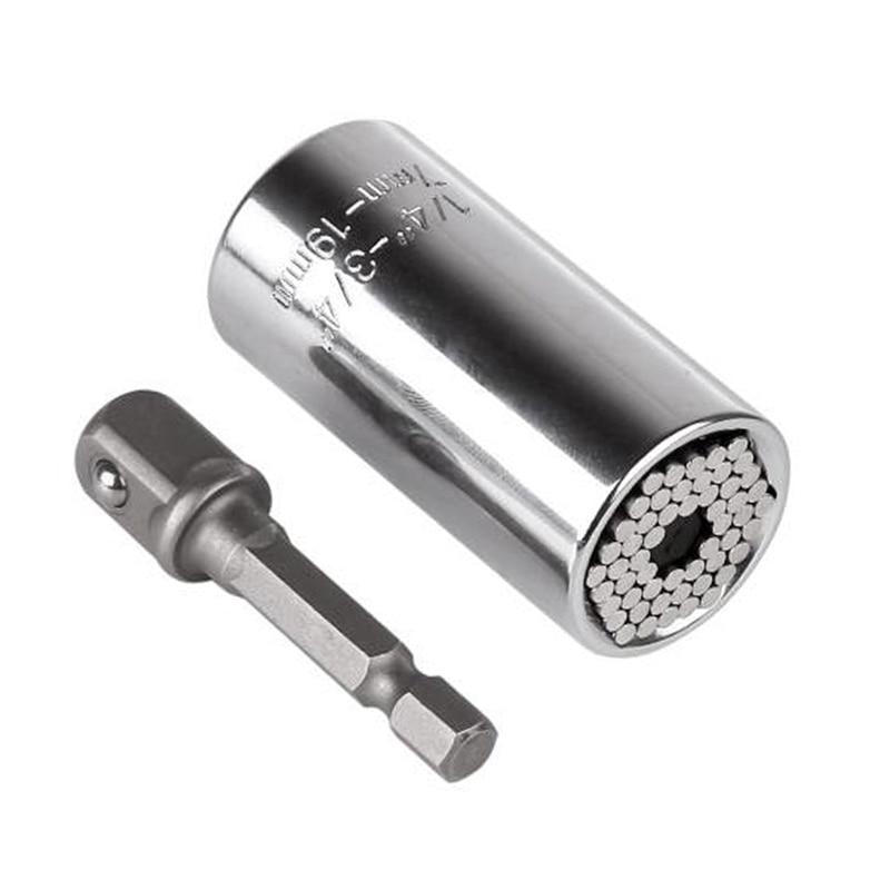 Universal Torque Wrench Head Set Socket Sleeve 7-19mm Power Drill Ratchet Bushing Spanner Key Multi Hand Tools
