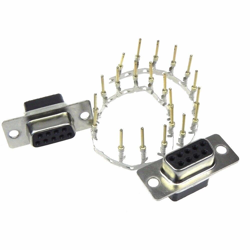 10 قطعة/الوحدة DB9-9pin الإناث محطة العقص نوع المقبس مع مسامير DB9 كابل موصل