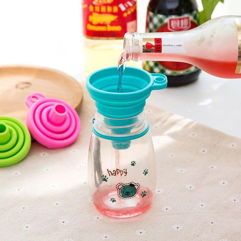 Embudo pequeño, utensilios de cocina, embudo plegable, gel de sílice, dispensador de líquidos, embudo de cuello largo de silicona de grado alimenticio telescópico