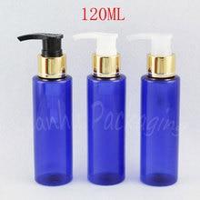 120ML Blue Flat Shoulder Plastic Bottle , 120CC Empty Cosmetic Container , Shower Gel / Lotion Packaging Bottle ( 40 PC/Lot )
