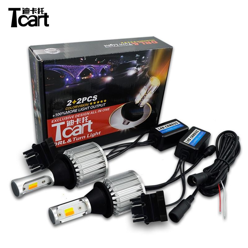T20 7440 30 واط led cob النهار تشغيل أضواء P21W اكسسوارات السيارات 1156 PY21W Bau15s بدوره إشارة