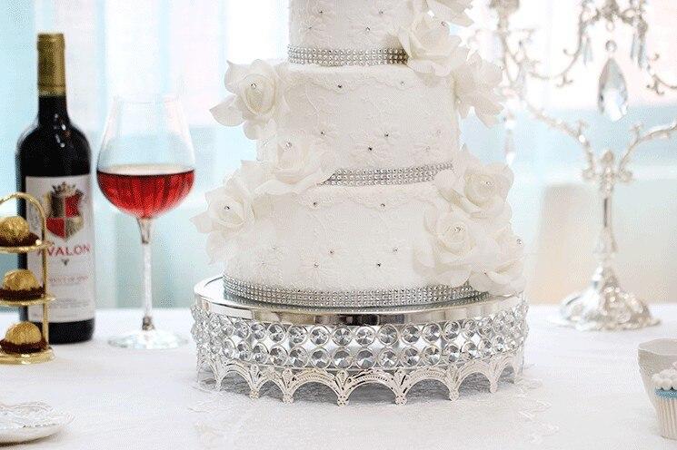 Soporte de lujo de la torta de cristal de la manera de la Magdalena de la bandeja del espejo de la superficie del postre 12 de la boda de la decoración de la Mesa del caramelo herramienta de hornear
