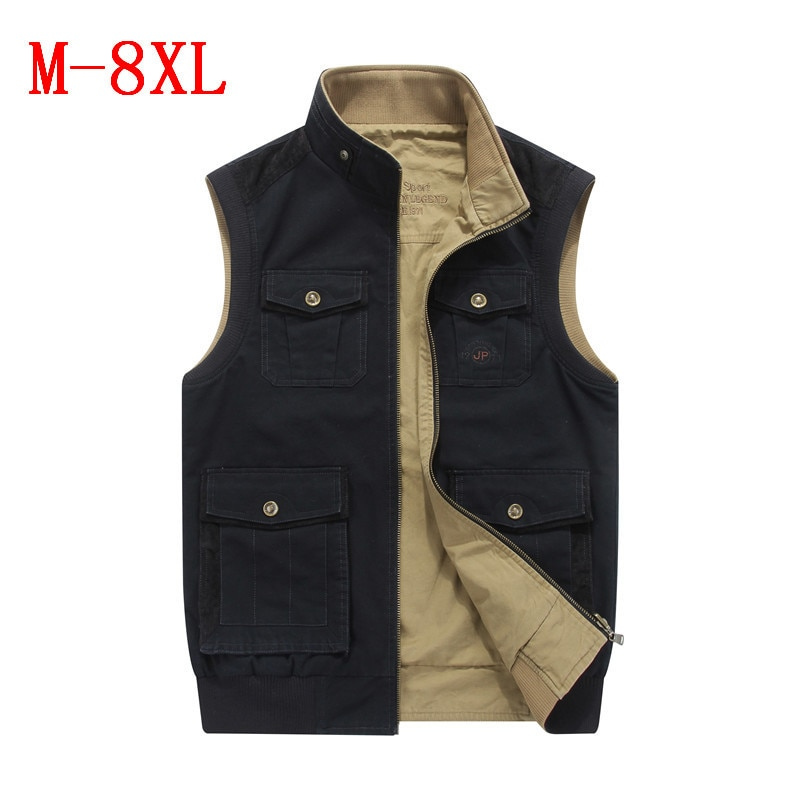 Большой размер, M-8XL, военный тактический жилет для мужчин, стоячий воротник, двусторонний Мужской жилет с множеством карманов, брендовая оде...