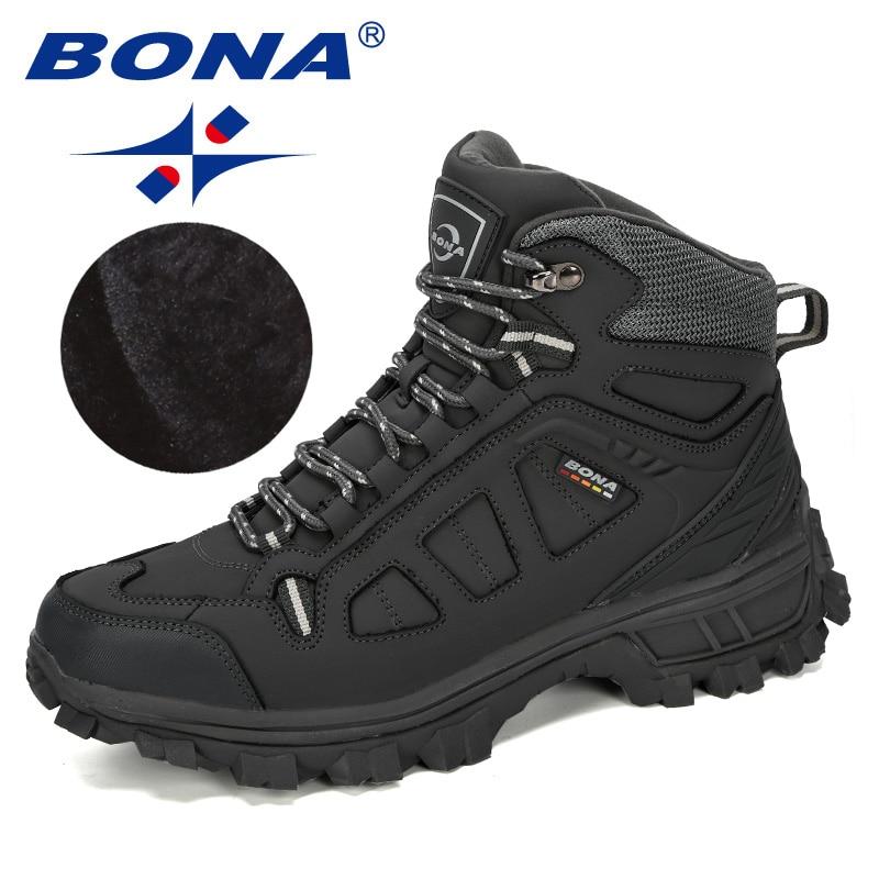 BONA New Designers Cow Split Warm Boots Men Fashion High Top Sneakers Male Winter Botas Hombre Boots Snow Shoes Comfortable