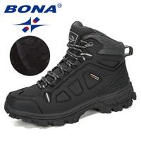 Мужские высокие кроссовки BONA, теплые дизайнерские ботинки из коровьего спилка, удобная зимняя обувь