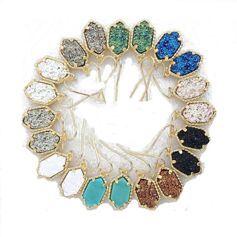 Nuevo Druzy pendientes colgantes para mujer geométrica piedra de imitación aretes con forma de araña colgantes para las mujeres niñas regalo de joyería de moda