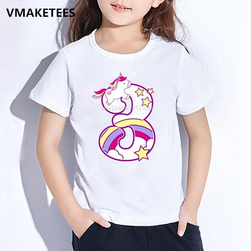 Camiseta con dibujo de unicornio para niños, Camiseta con estampado de feliz cumpleaños para niños, Número 1-9, regalo de cumpleaños para bebés, ropa divertida, ooo5238