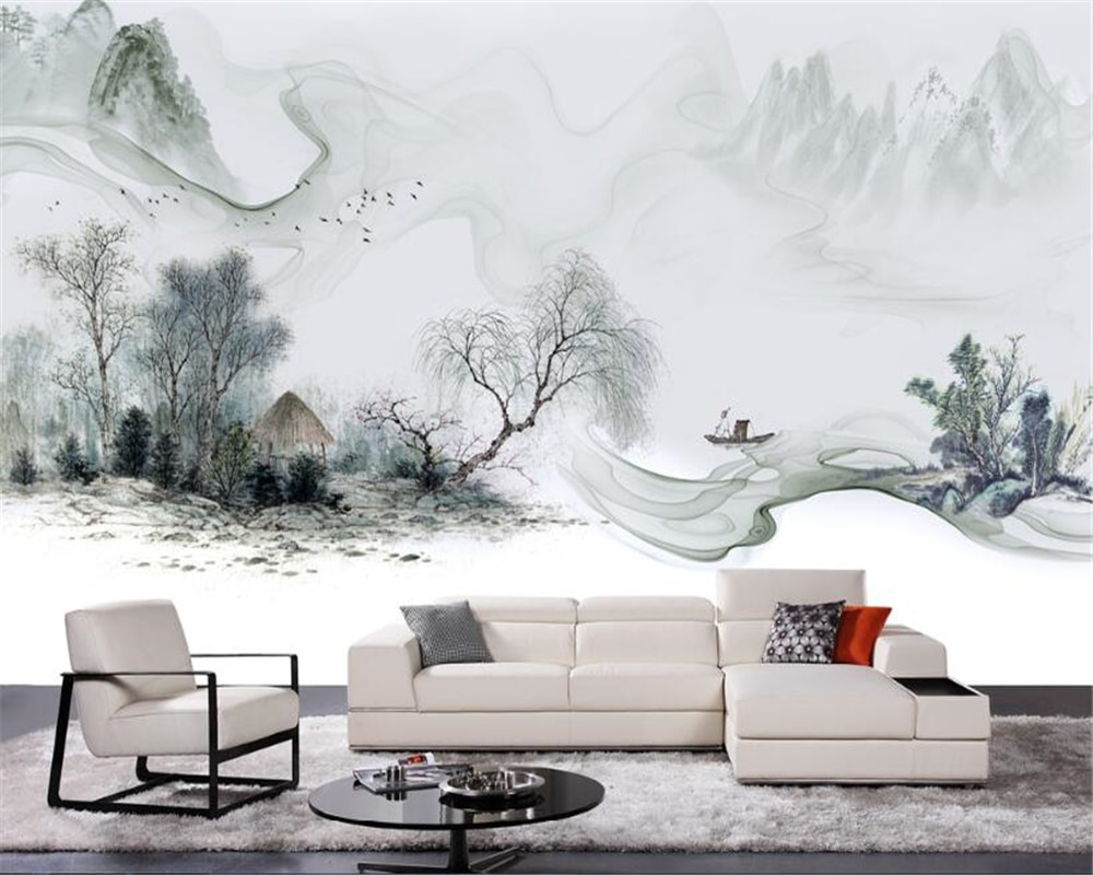 beibehang Simple Chinese new fashion personality 3d wallpaper Chinese style ink landscape wall sofa background papel de parede beibehang new papel de parede 3d wallpaper chinese style simple wallpaper relief dream watercolor lotus lotus background tapety