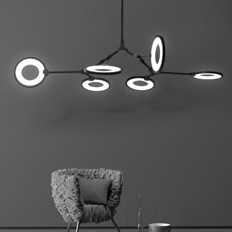 Modern minimalist adjustable ring LED lighting chandelier personality DIY 6 head living room decoration black painted metal lamp