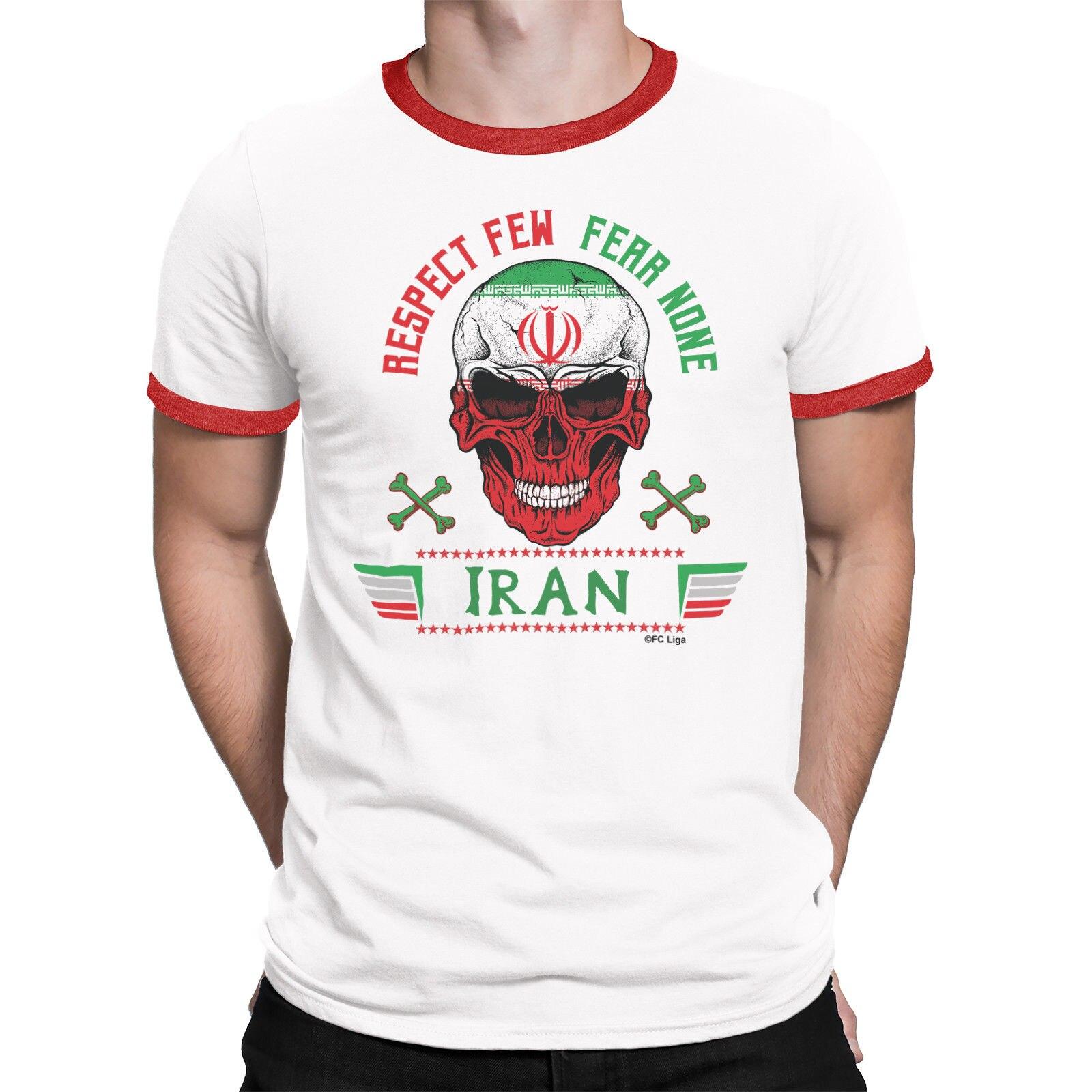 Camiseta de algodón de manga corta con estampado divertido de manga corta, Camiseta con estampado de Irán para hombre, camiseta de fútbol con cuello redondo respetuosa Fear ninguno 2019