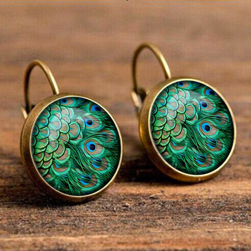 Green Peacock Feather Pattern Drop Earring for Women Bohemian Bird Boucles Doreilles Pour Les Femmes Wholesale Indian Jewelry