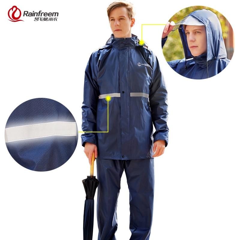 Rainfreem معطف واق من المطر دعوى كتيمة النساء/الرجال مقنعين دراجة نارية المعطف S-6XL المشي الصيد المطر والعتاد