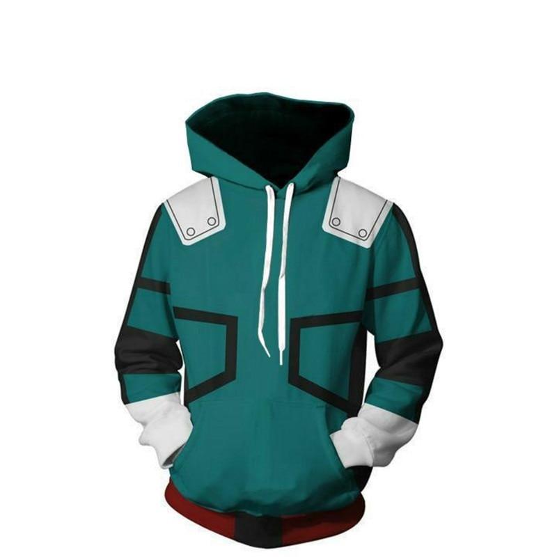 Mi Boku no héroe Academia Sudadera con capucha sudadera Midoriya Izuku Deku batalla Cosplay Anime de 3D impreso Hip Hop Streetwear