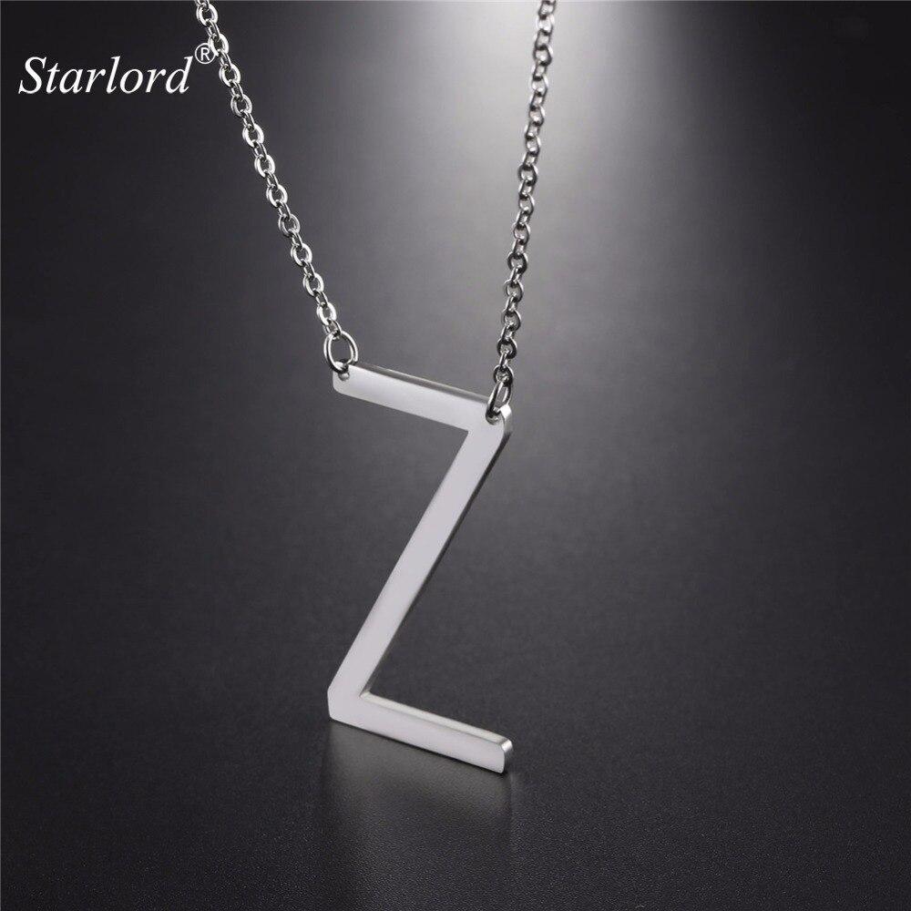 Starlord inicial Z letra colgantes y collares para Mujeres Hombres regalo personalizado joyas con alfabeto collar de acero inoxidable GP2626