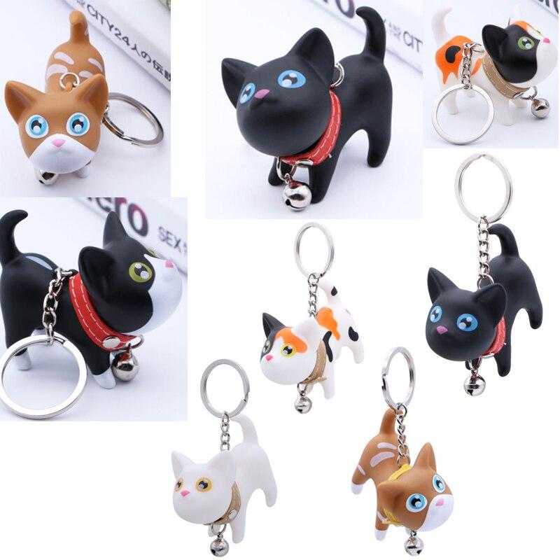 Cute Cartoon Dolls Small Black Cat Keychain Porte Clef Women Keyring Car Trinket Couple Key Chains Kids Toy Key Ring Pendant
