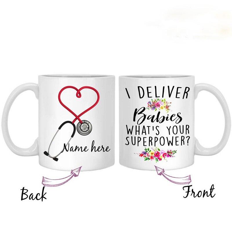 Copo de chá personalizado entregar bebês parteira presente, casa caneca de café do nascimento, copo de chá para a enfermeira da entrega, doutor, osso china 11 oz w