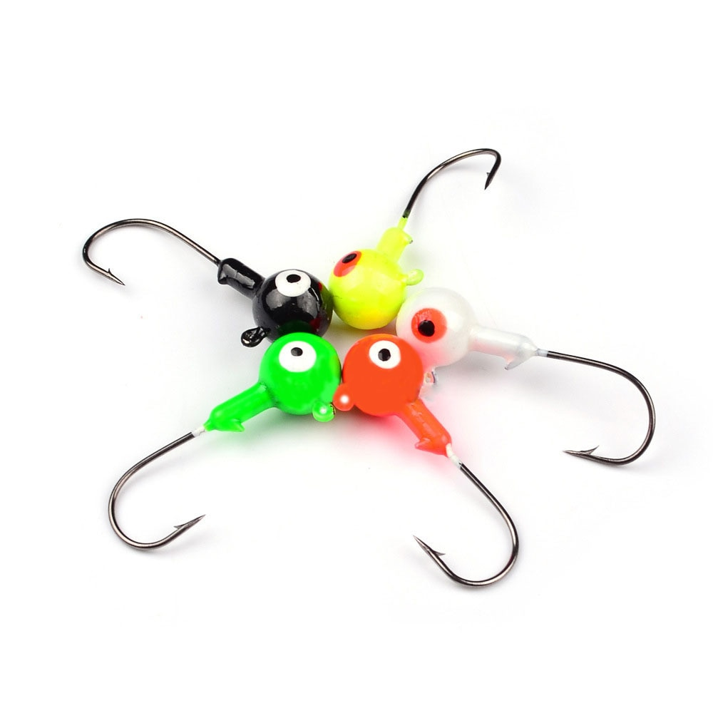 15pcs/lot Lead Head Jig Fishing Hook Big Eye 1G-10G Mixed Colors Lead Jighead Hooks for Fishing Jigging Bait Fishhooks Tackle B4