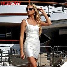 Mini pasek bez rękawów biały 2019 hl rozciągliwa, dzianinowa Sexy kobiety panie Bodycon New Fashion Celebrity Summer bandaż sukienki sukienki