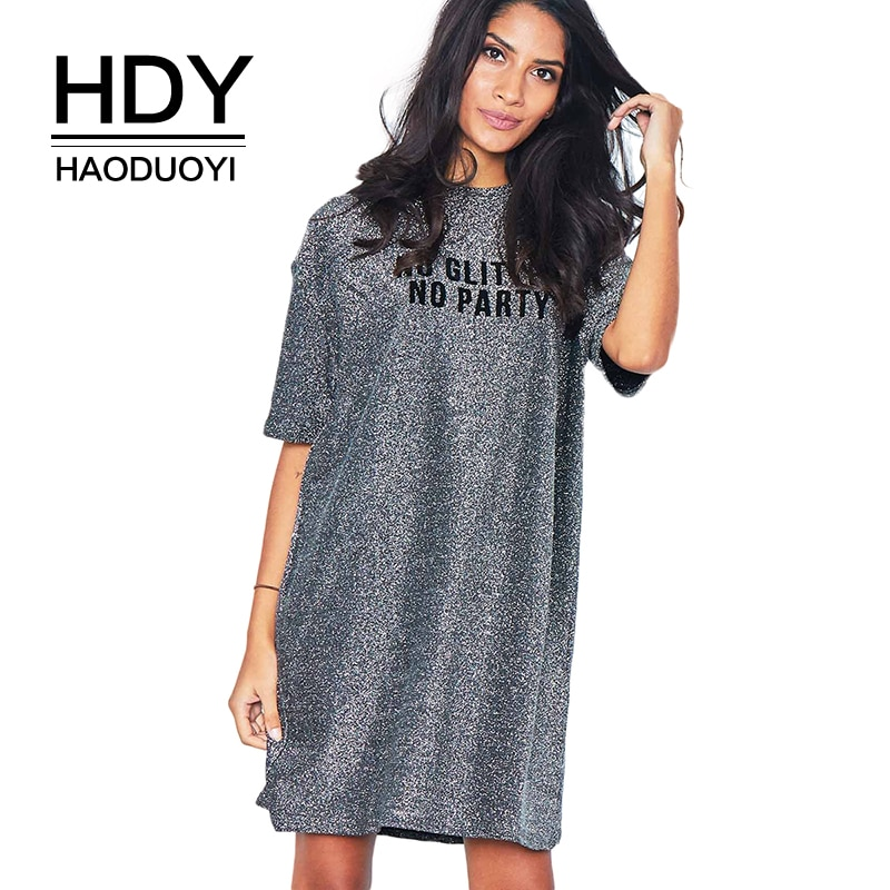 HDY Haoduoyi Camisa estampada con letras vestido brillante plata media manga jersey de cuello redondo Mini vestido al por mayor