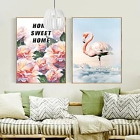 Toile de peinture abstraite impermeable flamand rose   Toile de peinture  NordicSpray  affiches imprimees  tableau artistique mural  pour salon maison non encadre