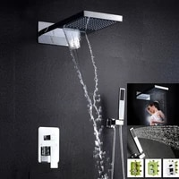 becola luxury chrome brass shower set new design wall mounted hot and cold water waterfall shower faucet b 9908