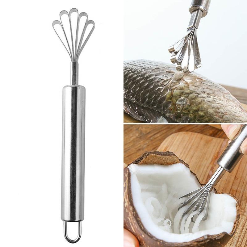 1pc Neue Durable Coconut Hobel Edelstahl Coconut Scraper Coconut Schreddern Werkzeug Fisch Skala Remover Küche Gagdets