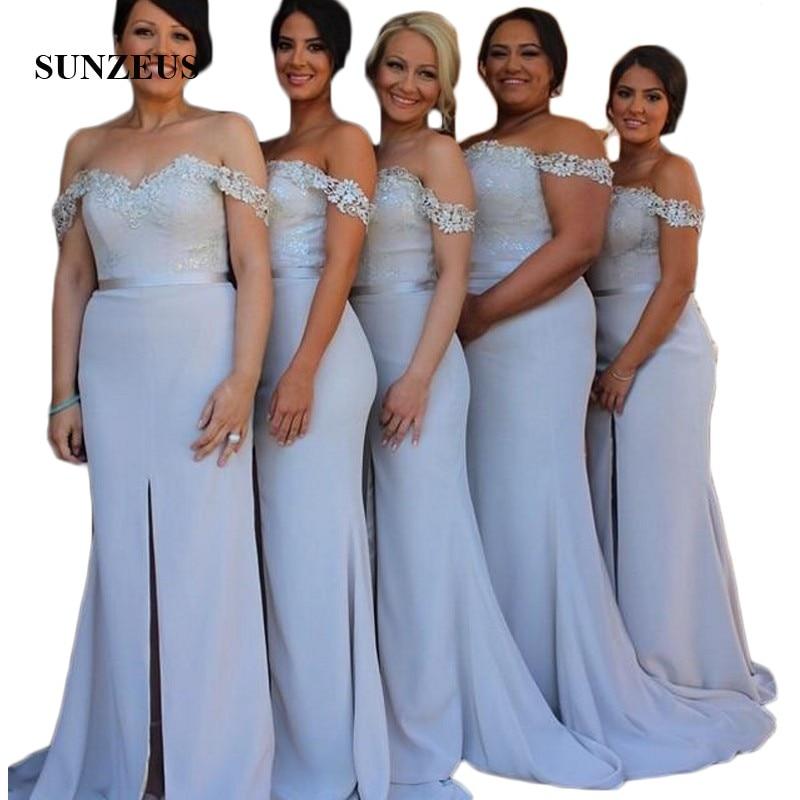 Cariño de hombro larga vestidos de encaje para dama de honor apliques...