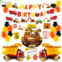 frigg 38pcs construction party decoration dump truck happy birthday party decor kids kits set baby shower party favor supplies