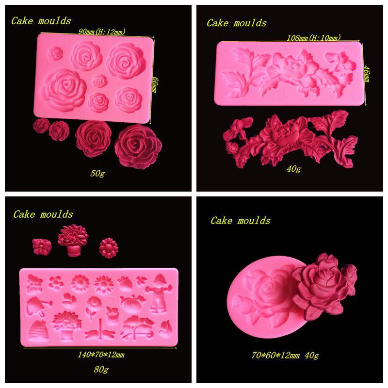 De Chocolate Rosa molde para torta, dulce DIY molde de la torta de uso diario gadget azúcar para hornear molde de gel de silicona líquida WMJ-886