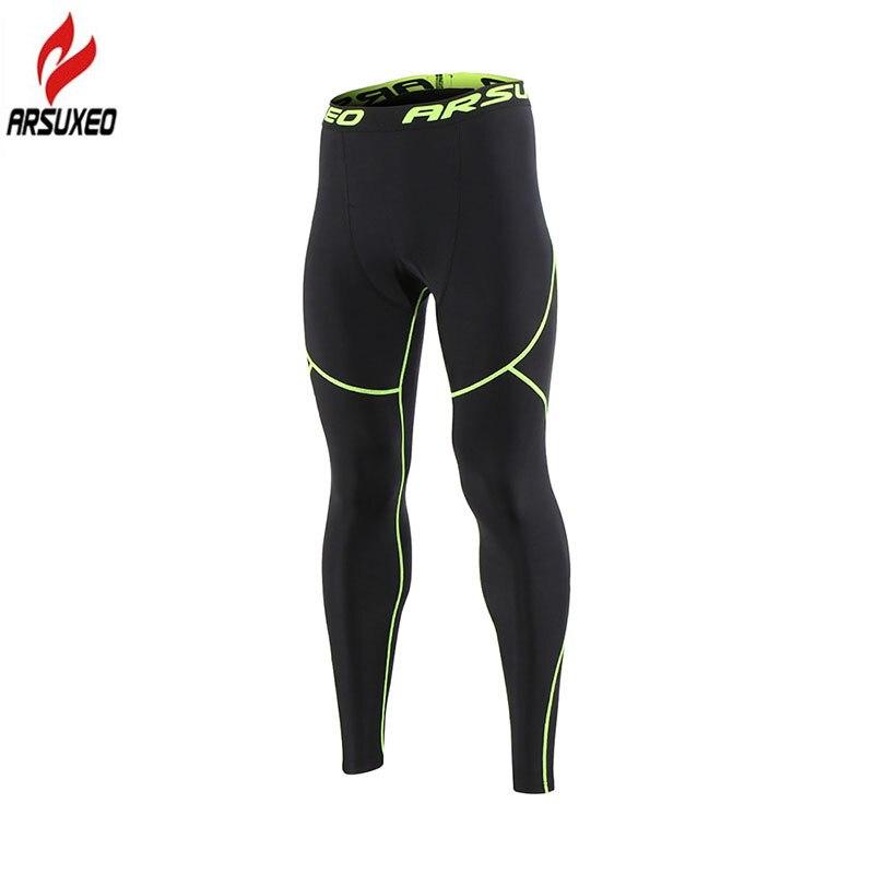Мужские компрессионные штаны ARSUXEO, зимние теплые флисовые Колготки для бега, фитнеса, тренировок, бега, спортивные штаны