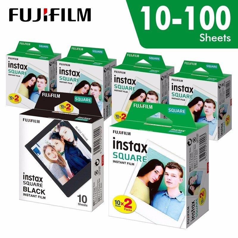 Película de borde blanco instantáneo Original Fujifilm Instax Square de 10 a 100 hojas para cámaras de formato híbrido Fuji SQ10 6 20 SP2