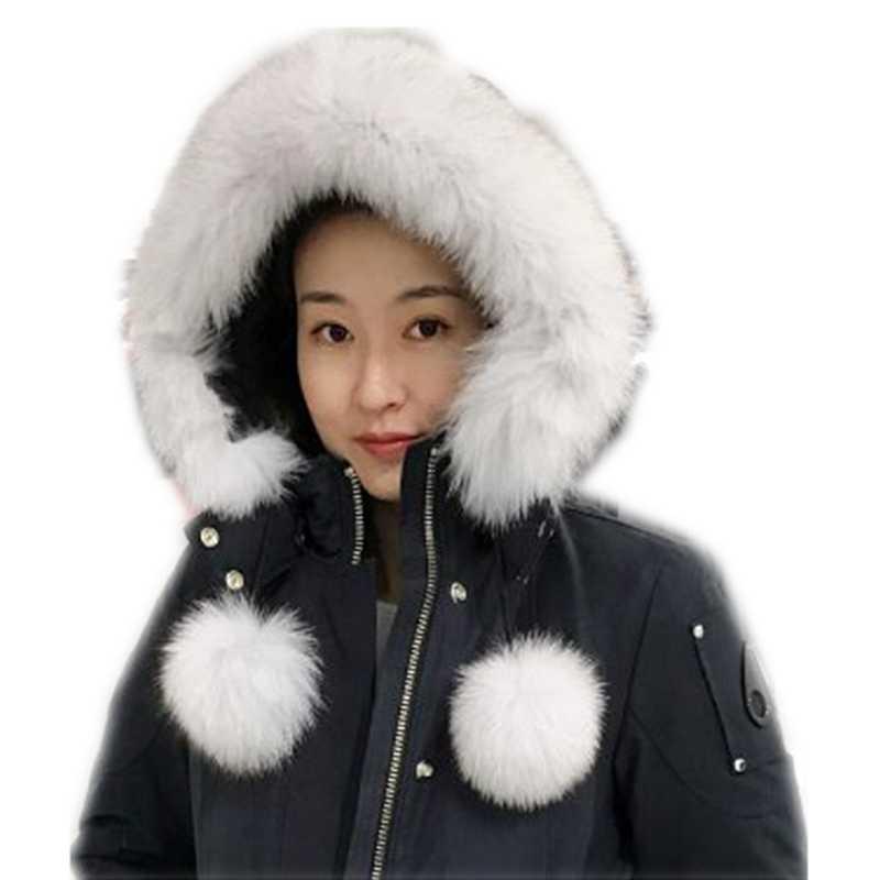 2018 Genuine Fox pompón ball hat collar fur fox tail bufanda mujeres invierno grueso caliente blanco negro tips fox bufandas Gorro con pelo collar