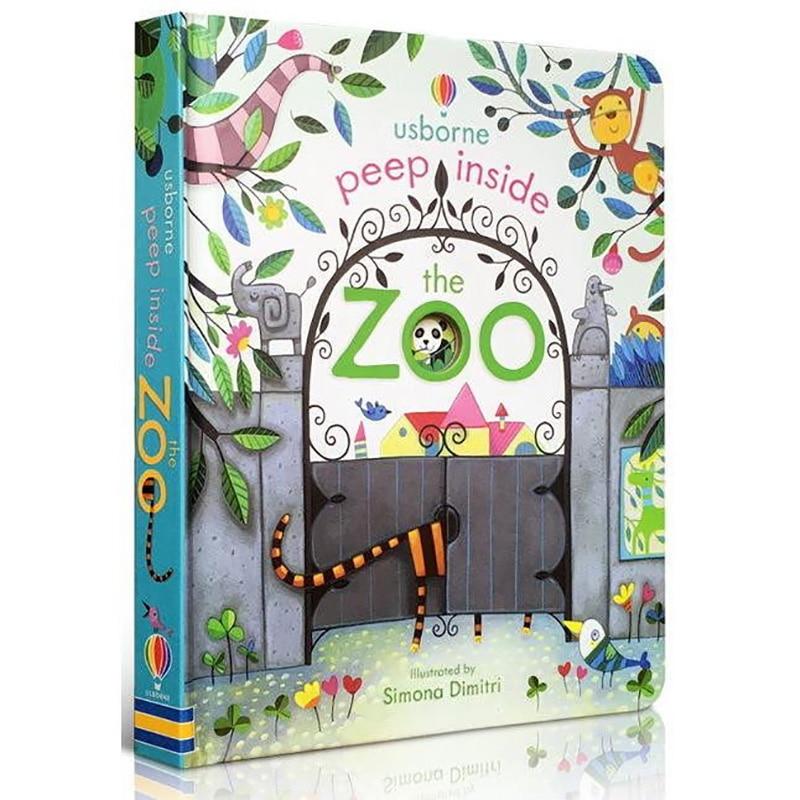 Usborne peep dentro do zoológico animal inglês educacional 3d aleta imagem livros bebê crianças livro de leitura