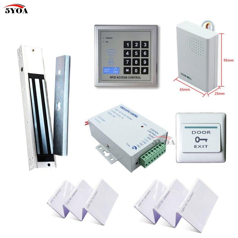 Система контроля доступа 5YOA RFID, набор «сделай сам» для открывания стеклянных дверей, электронный магнитный замок, ID-карта, кнопка питания, дверной звонок