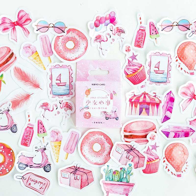 46 unids/caja linda chica Rosa pegatinas Scrapbooking etiqueta pegajosa japonés Kawaii Coreano hojas para diario de Lifelog adhesivo de papelería