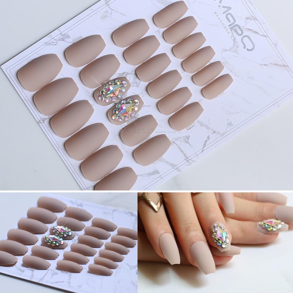 Matte coffin False nails Nude color Full Nail Ballerina Fake nail 24pcs nail tips Flash design shiny Diamond Shape AB Crystal