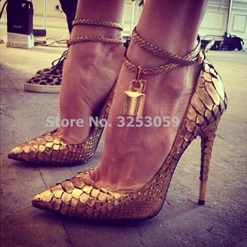 ALMUDENA, tacones dorados sexis para mujer, candado con punta estrecha, zapatos de tacón, correa de tobillo de piel de serpiente, decoración de Metal, zapatos de banquete, Dropship