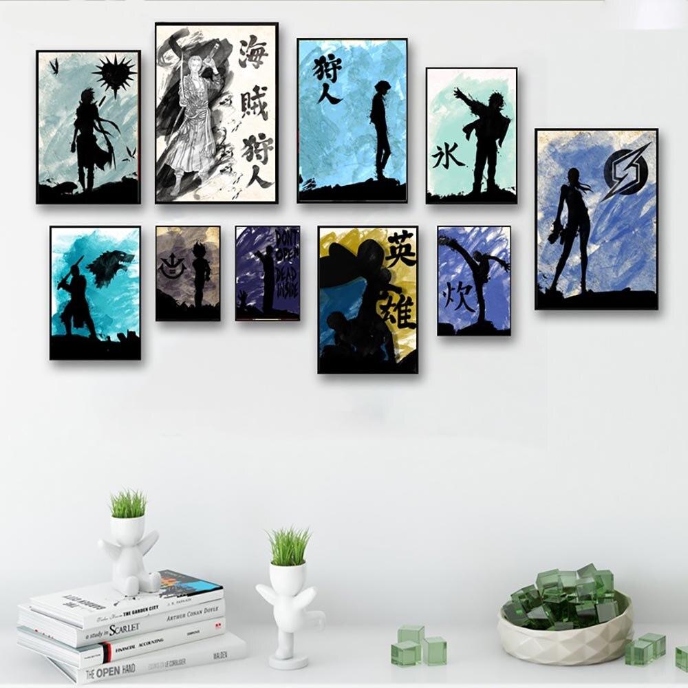 Arte en lienzo pintura impresa cuadros de pared Erza Scarlet Mikasa Kanji Totoro Allen póster minimalista decoración de sala de estar