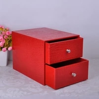 double layer double drawer wood structure leather desk filing cabinet box office organizer document container croco red214d