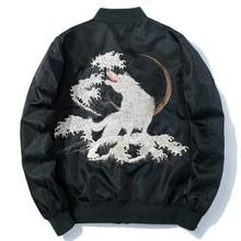 Winter Bomber Jacket Men Thick Embroidery Wolf Pilot Jackets Harajuku Casual Black Baseball Jacket Japan Youth Streetwear Male
