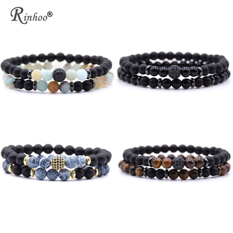 Rinhoo 2pc/sets Natural Stone Bracelet Beads Bangles Micro Pave CZ 6mm Disco Ball Charms Beaded Bracelets For Women Men Jewelry